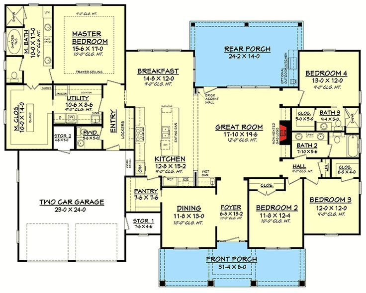 Plan 51756HZ: 4 Bed Craftsman With Tapered Columns