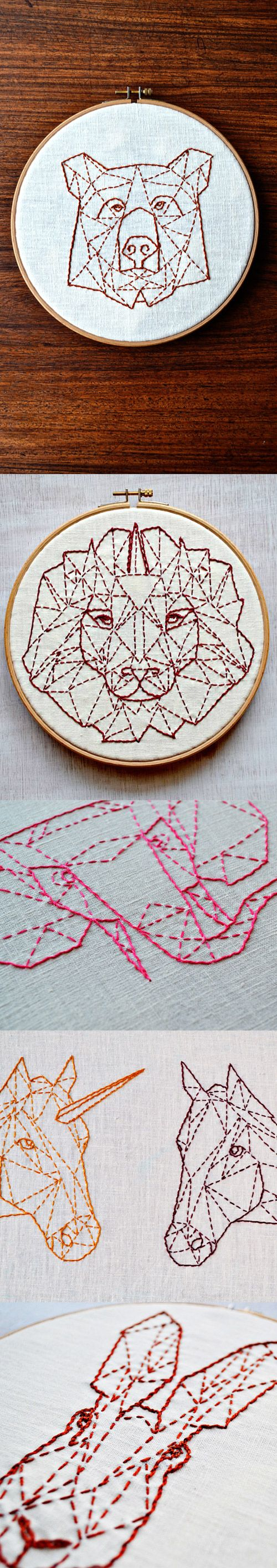 Embroidery pattern 5 geometric animal set beginner modern hand embroidery
