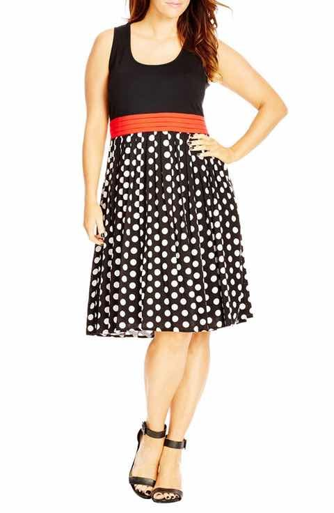City Chic 'Contrast Spot' Mixed Media Dress (Plus Size)