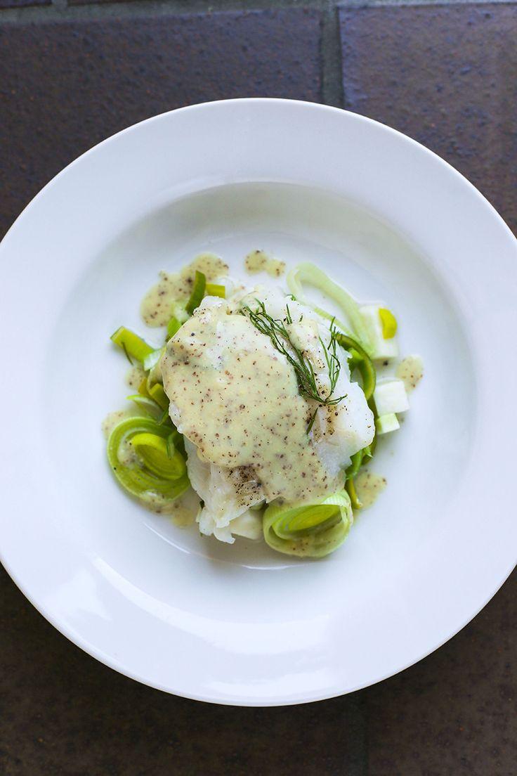 Dampet torsk med grønt / Steamed cod with green.
