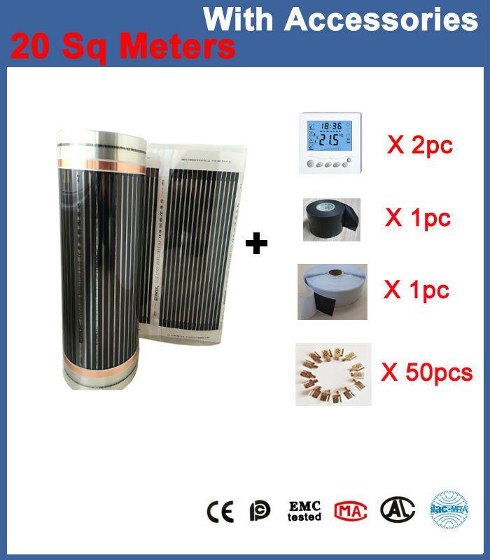 20 Sq Mètres Film Chauffage Par le Sol 50 CM * 40 M Par Rouleau Avec Accessoires (Thermostat, pinces 50 Pcs, isolation Torchis, Isolation Du Robinet)