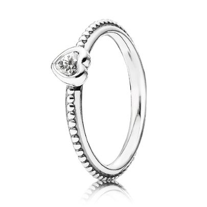Pandora Silver CZ Heart Ring 190896CZ. Express your love with PANDORA'S new Valentine 2014 Collection. This stunning sterling silver beaded ring features a beautiful heart with a sparkling white cubic zirconia centre.