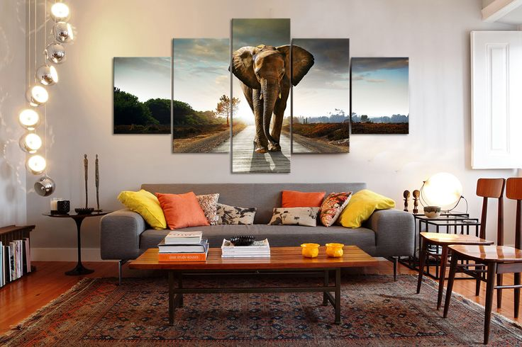 Unframed 5 Pcs Morden Canvas Painting Elephant Wall Art