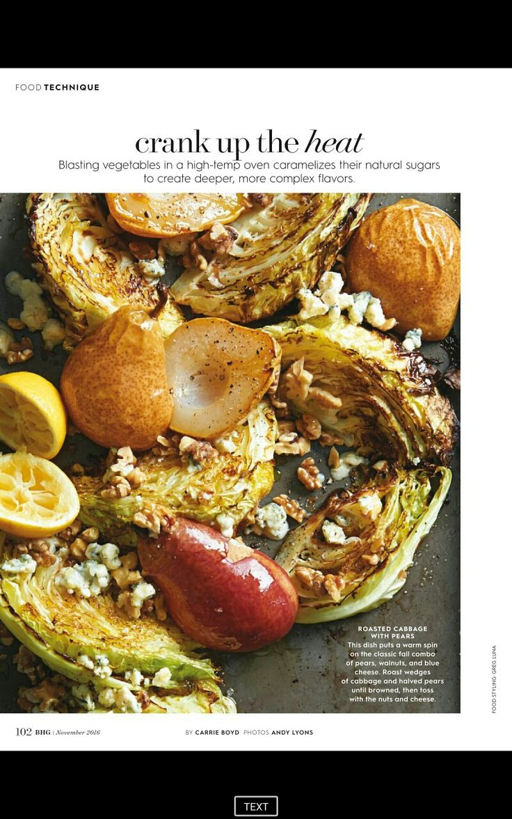Roasted cabbage with Pear walnut and blue cheese