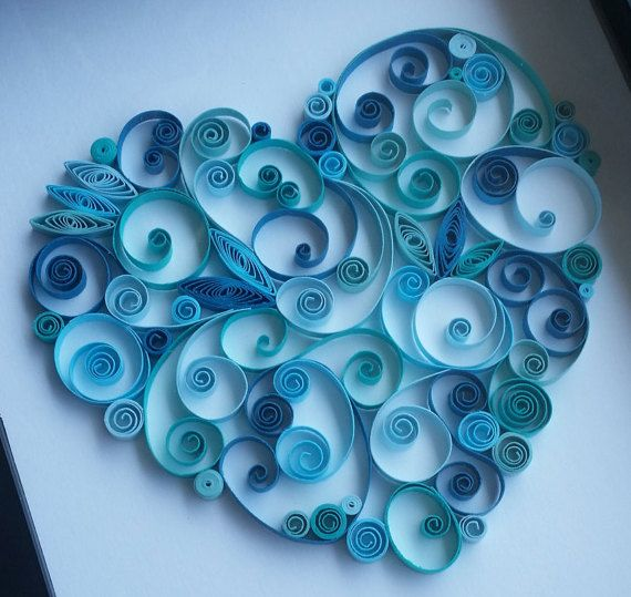 Paper Quilled Heart  8x10 by iheartquilling on Etsy