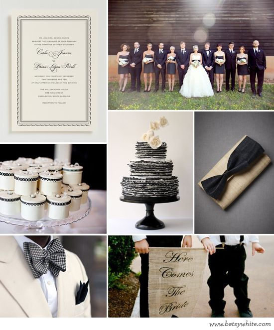 Black and Neutral Nuptials By Flights of FancyBridal Party Photos, Mood Boards, Black And White, Black White Weddings, Brides Banners, Black Whit Inspiration, Bridal Parties, Classic Black, Brides Signs