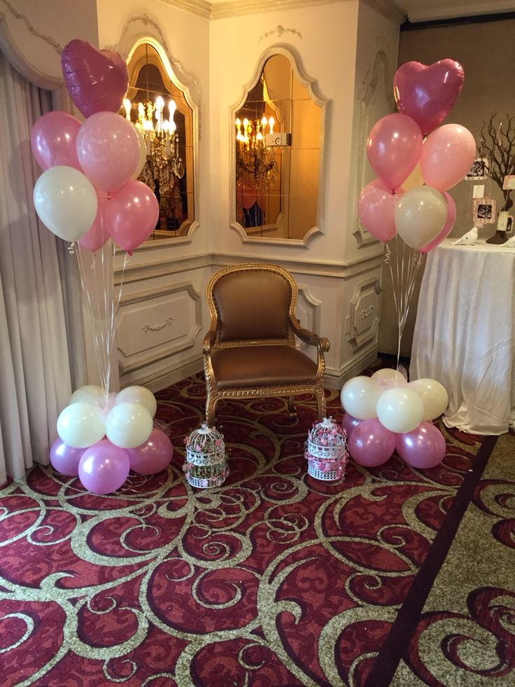 Elegant pearl pink and ivory baby shower balloon floorpiece.  www.redvineevents.com
