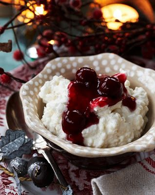 The musthave Danish dessert served on Christmas Eve: almond-rice pudding with warm cherry sauce. Whoever gets the one whole almond, hidden in the pudding, receive a gift.