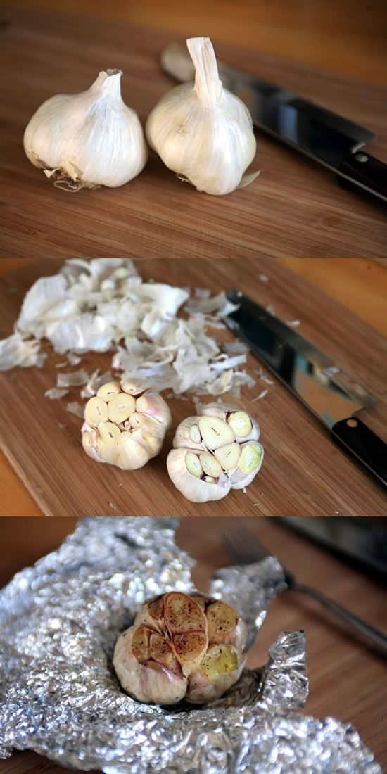 Don't bother to peel each clove and roast them separately--simply roast the whole garlic bulb!