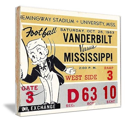 Vintage Mississippi football ticket canvas art. http://www.shop.47straightposters.com/