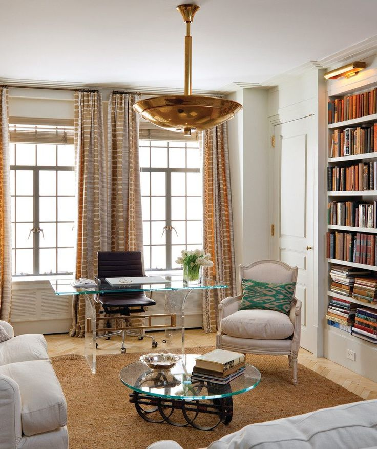 small study room home office transitional with library metal shelves