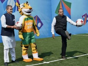Union Sports Minister Vijay Goyal with All India Football Federation (AIFF) President Praful Patel during the launch of logo for U-17 FIFA world cup 2017