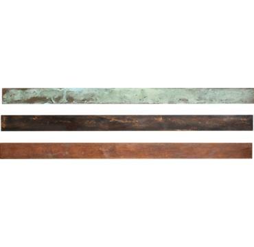 Mmm perfect patina metal wall strip shelves.