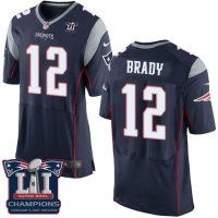 Men's New England Patriots #12 Tom Brady Navy Blue Team Color Super Bowl LI Champions Nen Elite Jersey