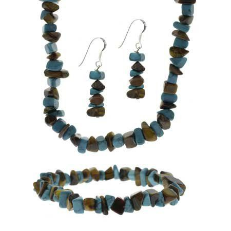 Sterling Silver Tiger Eye And Turquoise Chip Jewelry Set SilverSpeck.com. $19.99. Earrings: 39 mm (H), 9 mm (W), Weight per earring: 2.3 gr. Earring back: fish hook. Bracelet: 10 mm (W), 7 in (L), Weight: 15.4 gr. Necklace: 10 mm (W), 16-19 in (L), Weight: 33.2 gr. Save 20%!