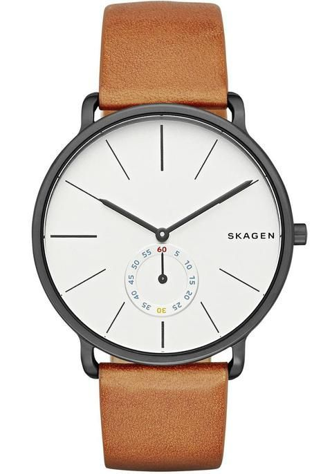 Buy Skagen Men's Hagen Leather Strap Watch, Tan/White from our Men's Watches  range at John Lewis. Free Delivery on orders over