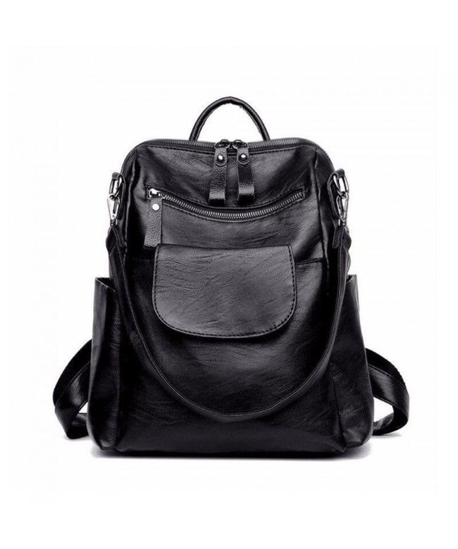 1a251a387f67 Women Backpack Purse Washed Leather Ladies Rucksack School Shoulder ...