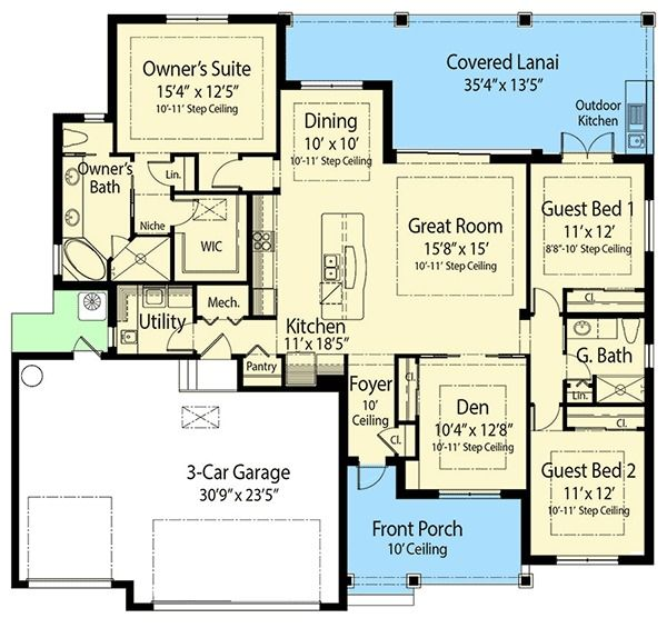 Plan 33187zr Flex Bed Net Zero Ready House Plan With