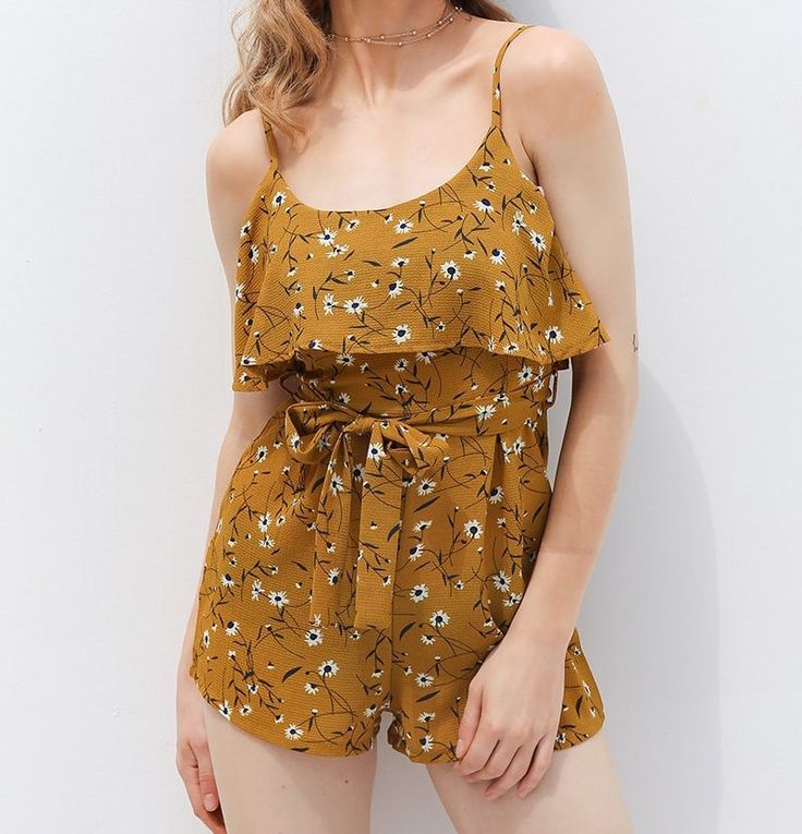 Summer Yellow or Navy Ruffle Romper