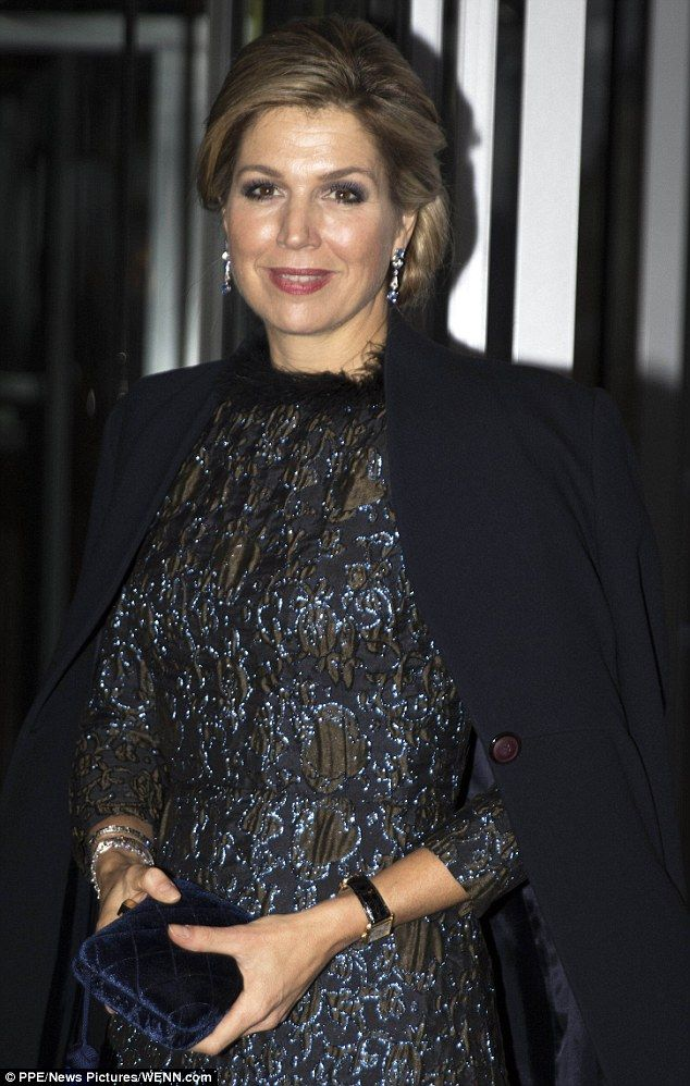 Ramping up the glamour:Dressed to impress in a sparkling midnight blue dress with a feathered collar, the Dutch royal certainly made an entrance as she arrived at the awards