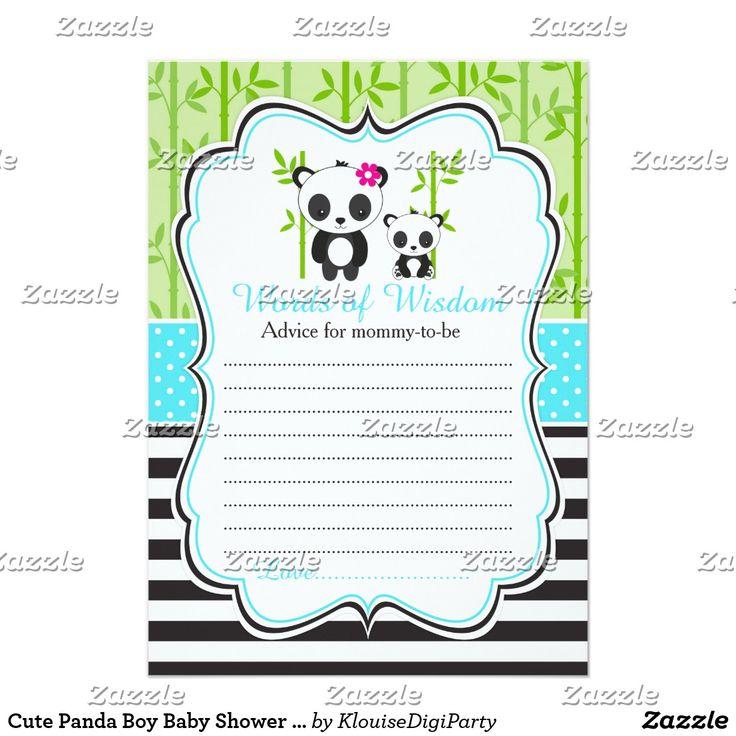 Cute Panda Boy Baby Shower Words of Wisdom Card