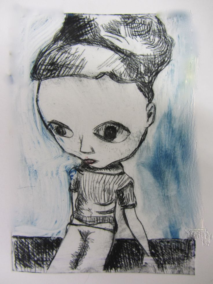 Girl with a bun. Drypoint etching