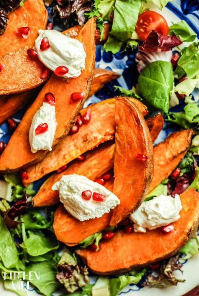 baked sweet potatoes with yoghurt and pomegranate