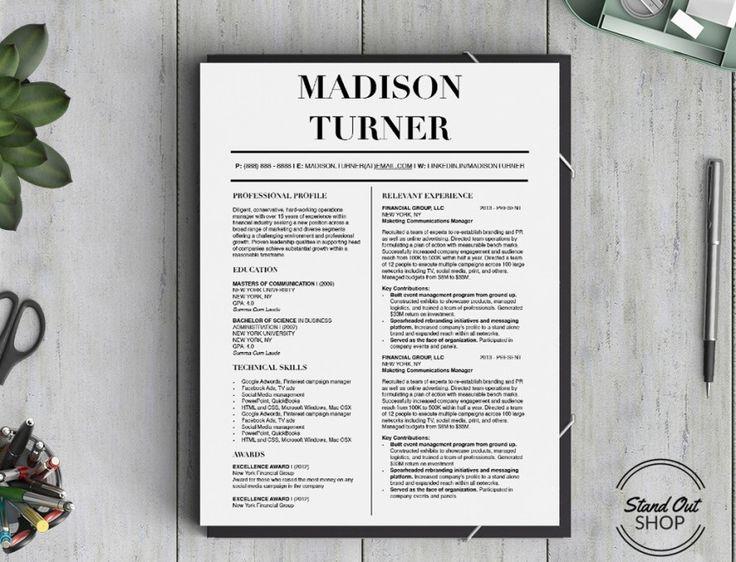 8 best Madison Turner Resume Template images on Pinterest - microsoft resume templates 2013