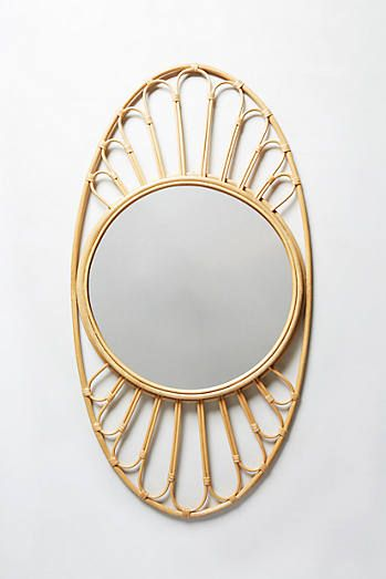 Midcentury Wicker Optic Mirror