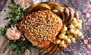 Baked ham with roasted vegetables by chef Mark Olive