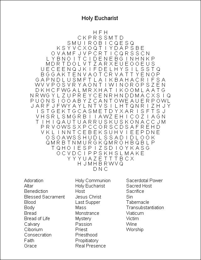 Word Search Puzzle Communion Pinterest Words