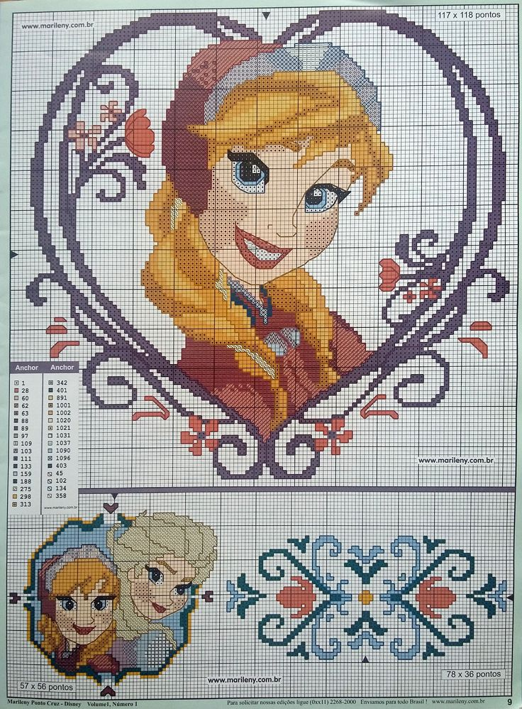 Frozen Elsa and Anna x-stitch