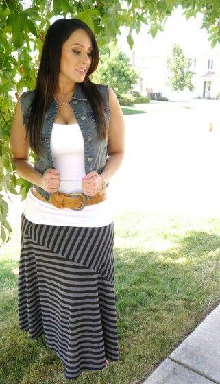 Curvy girl - Denim vest, white tank, tan belt and striped maxi skirt