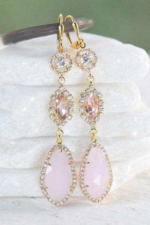 Bridal Statement Earrings with Pink Champagne