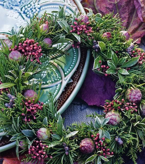 These colors are exquisite.  This wreath would be a memorable centerpiece with a hurricane and candle.