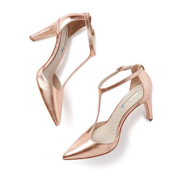 Boden Beatrice High Heel ($134) ❤ liked on Polyvore featuring shoes, pumps, heels, zapatos, metallic, high heel pumps, high heel shoes, boden, t strap shoes and metallic shoes