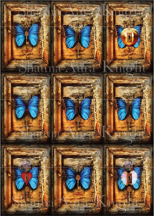 Butterflies Keys Grunge Frame ATC 2.5 x 3.5 by ShaunaAuraKnight
