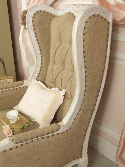 white washed burlap vintage chairu003e i like the look of burlap but not the feel of it for comfortable seating