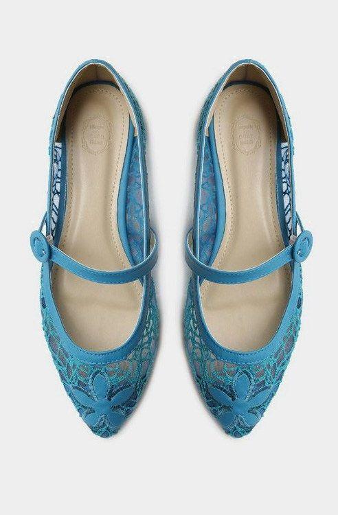 Ollio Women's Ballet Shoe Mary Jane Lace Comfort Multi Color Flat