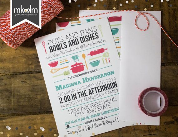 Bridal Shower Invitation: Stock The Kitchen Bridal Shower   Pots And Pans  Bowls And Dishes   Kitchen Shower  Digital   White