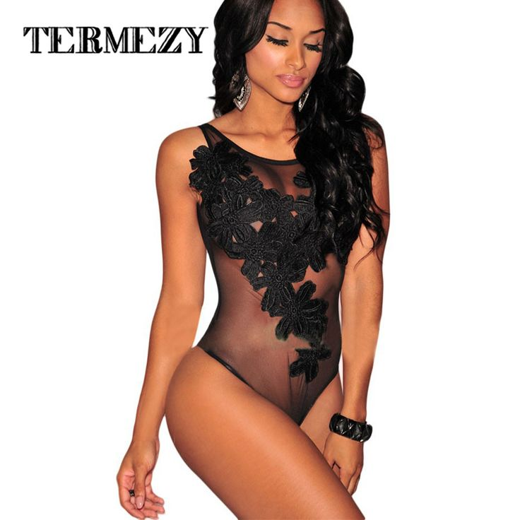 2016 Hot Bodysuit Women Jumpsuit Sexy Rompers Floral Embroidered Sheer Mesh Overalls for Women Bodysuit Sexy Playsuit Plus Size
