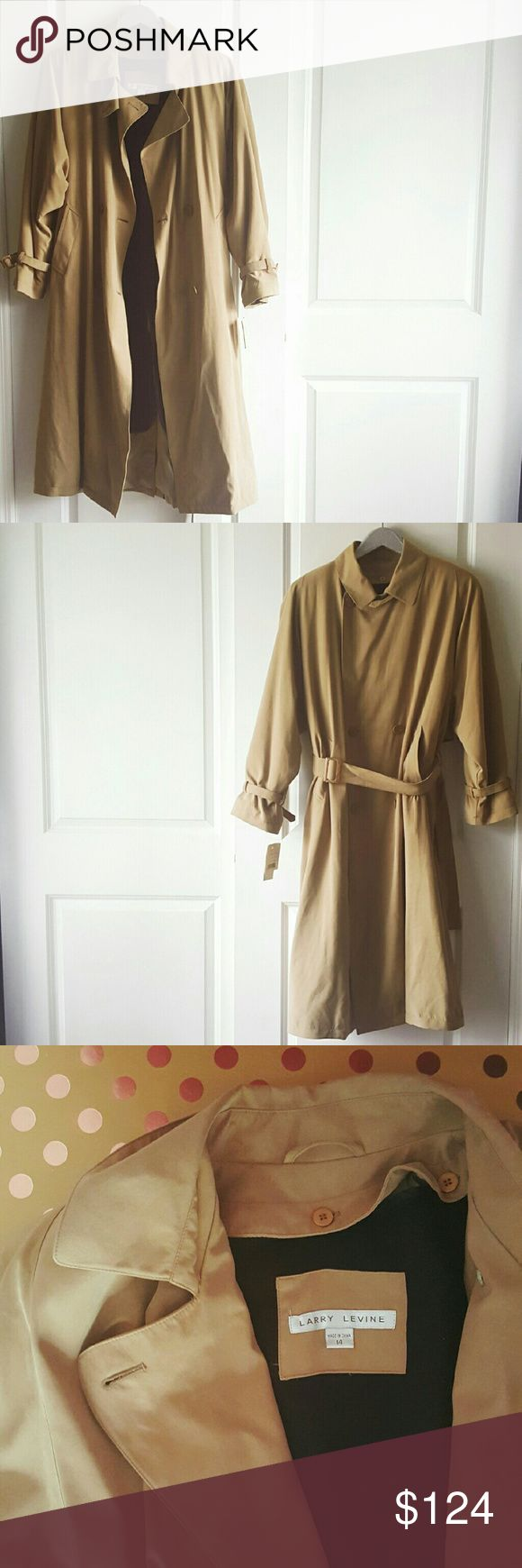 NWT Larry Levine VTG Trench Coat Gorgeous NWT Trench Coat! Beautiful trench coat details with detachable body. Can button either way, left or right side. Grab this before it's gone!! 👕Shell 100% Polyester 👕Detachable body 100% Acrylic 👕Detachable sleeve shell 52% Rayon 48% Acetate 💖 Every listing purchased enters you in for a gift card drawing at the end of the month. Larry Levine Jackets & Coats Trench Coats