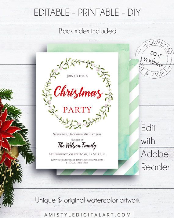 Christmas Wreath Holiday Invite, with adorable watercolor mistletoe design in a classic and elegant style.This floral holiday invitation listing is for an instant download EDITABLE PDF so you can download it right away, DIY edit and print it at home or at your local copy shop by Amistyle Digital Art on Etsy