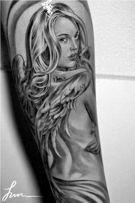 Angel pin up girl tattoo jun cha tattoo for Jun cha tattoos
