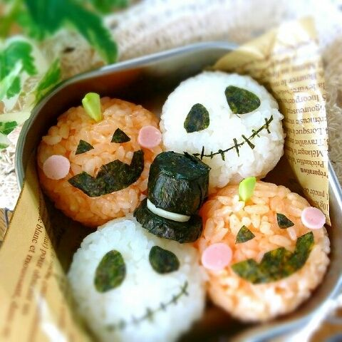 Jack and pumpkin onigiri
