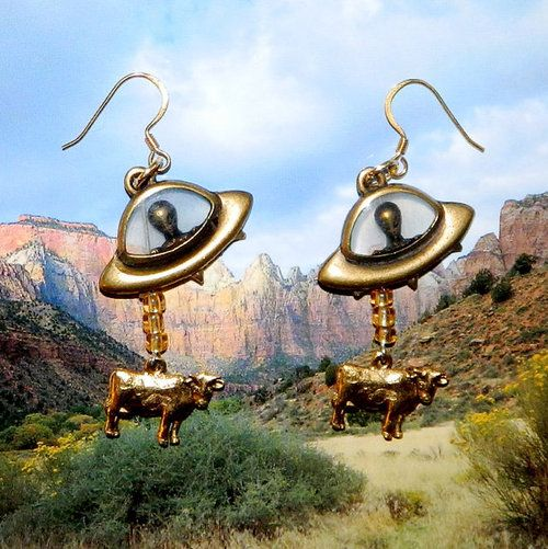 Aliens abducting cows - earrings. Possibly the best thing ever