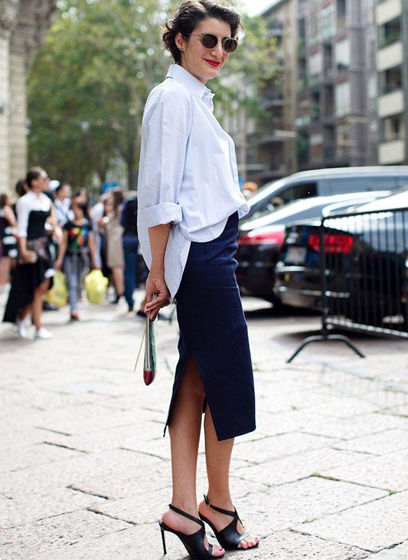 La chemise d'homme, la meilleure amie de la jupe crayon (photo The Sartorialist)