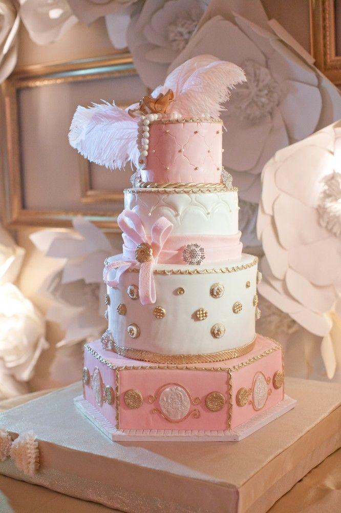 Beautiful Pink Amp Gold Wedding Cake Weddings Pinterest