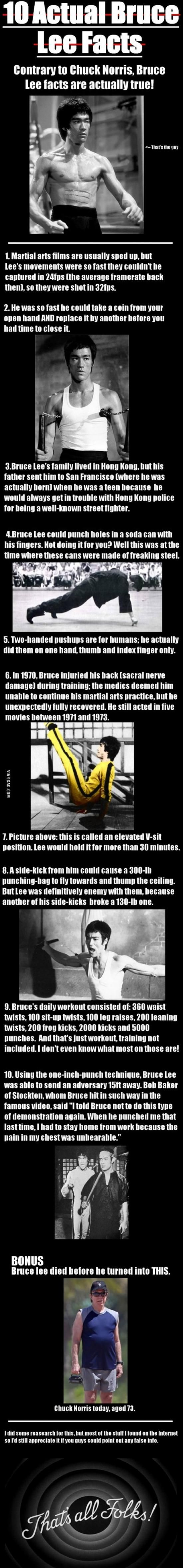 Bruce Lee facts. Bonus Fact: Bruce wore contact lens. He had trouble seeing distances, so his first martial arts focused on close-in fighting.