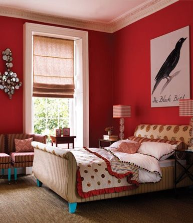 I Adore This Red Bedroom, Fabulous...and That Blackbird! Touches Of